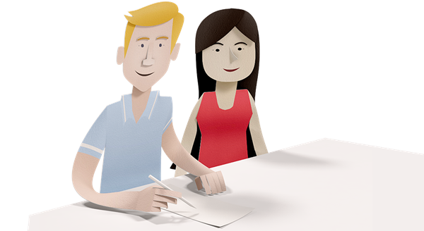 Illustration of couple filling out a form