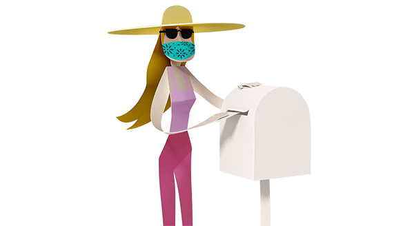 Illustration of voter placing a ballot pack in a post box.