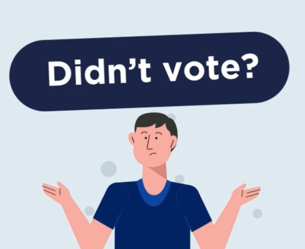 screenshot of non-voting animation showing text that says 'Didn't vote?""